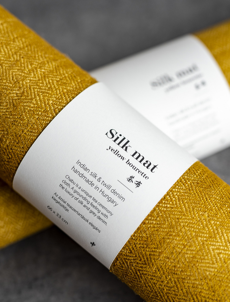 Silk yellow bourette tea mat – Chabu 茶布